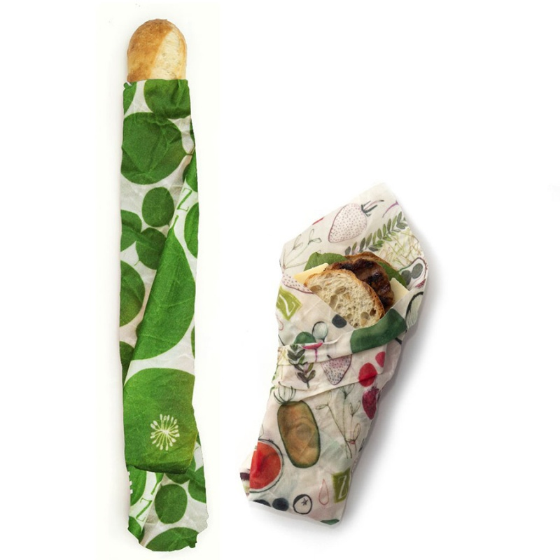 Z Wraps 2- Pack Medium And X Large Beeswax Wrap, Leafy Green & Farmer's Market Prints