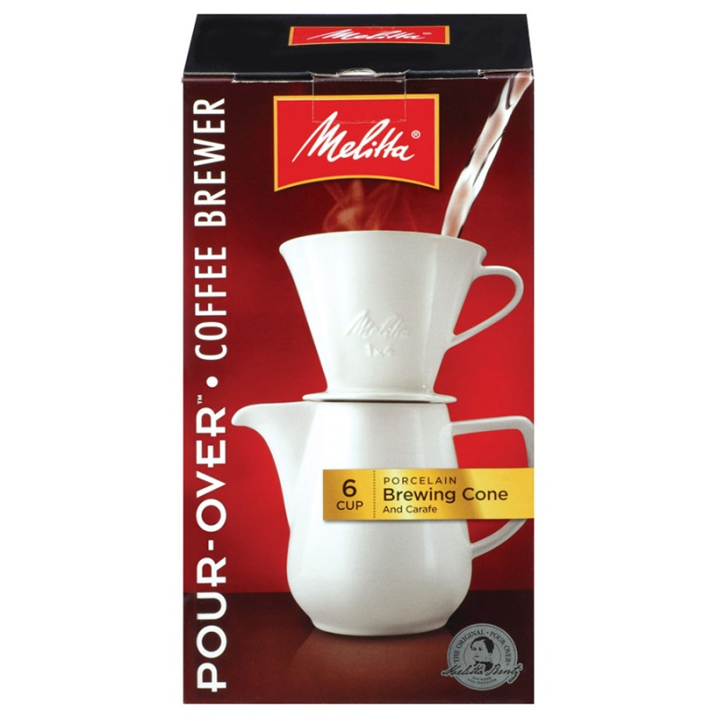 Melitta Porcelain Pour-over Coffee Brewer Cone With Carafe 6 Cup