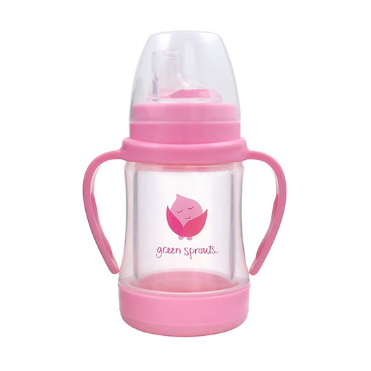 Green Sprouts Pink Glass Sip & Straw Cup 4 Oz.