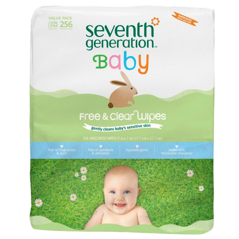 Seventh Generation Free & Clear Baby Wipes 256 Ct