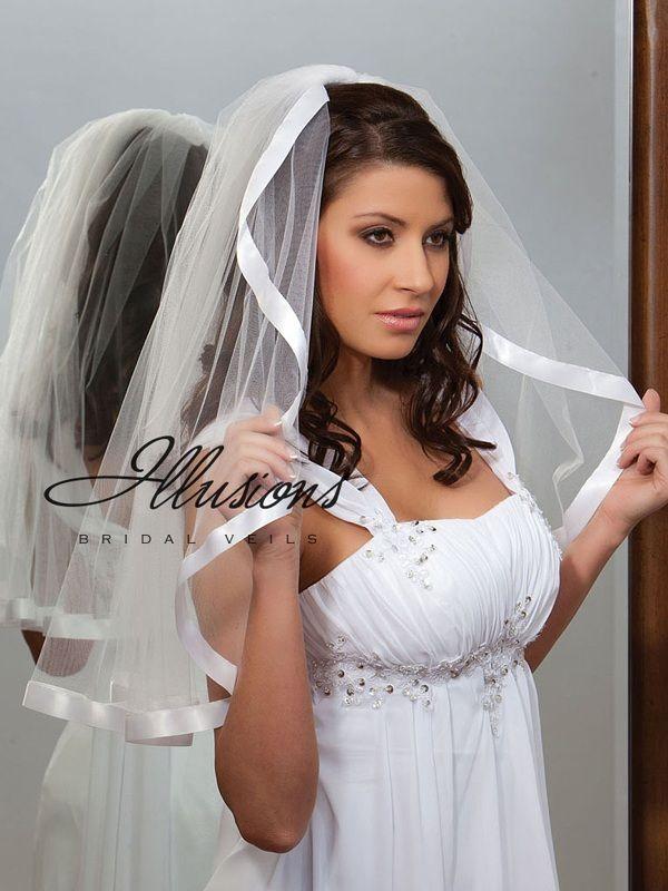 Illusions Bridal Ribbon Edge Veil C1-251-7R: Pearl Accent