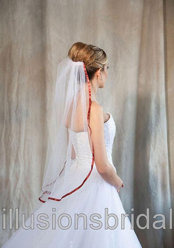 Illusions Bridal Colored Veils and Edges with Burnt Orange Ribbon Edge