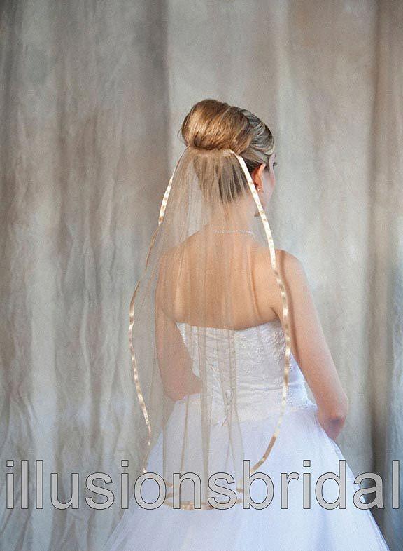 Illusions Bridal Colored Veils and Edges: Gold Ribbon Edge