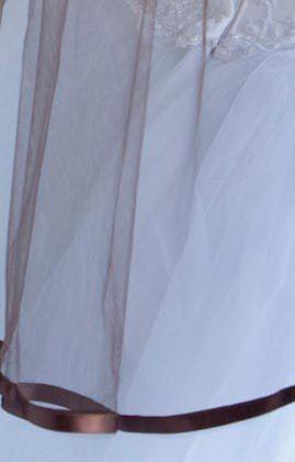 Illusions Bridal Colored Veils and Edges: Chocolate Ribbon Edge