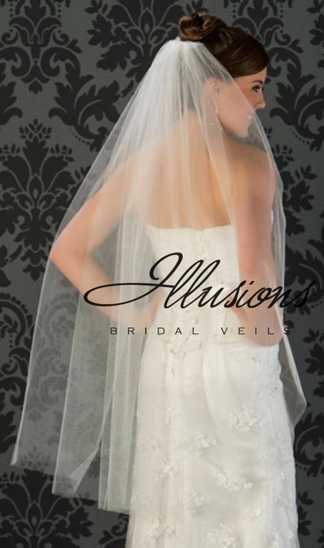 Illusions Bridal Cut Edge Veil 1-451-CT: Rhinestone Accent