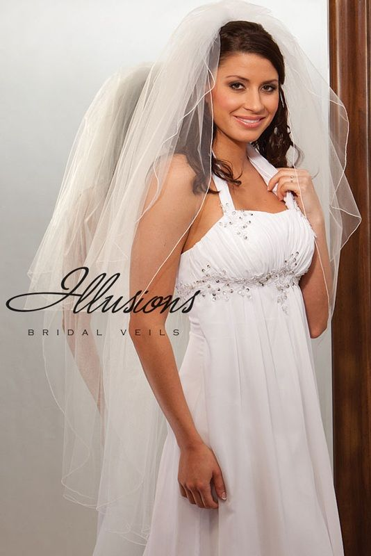 Illusions Bridal Corded Edge Veil S1-452-C: Rhinestone Accent