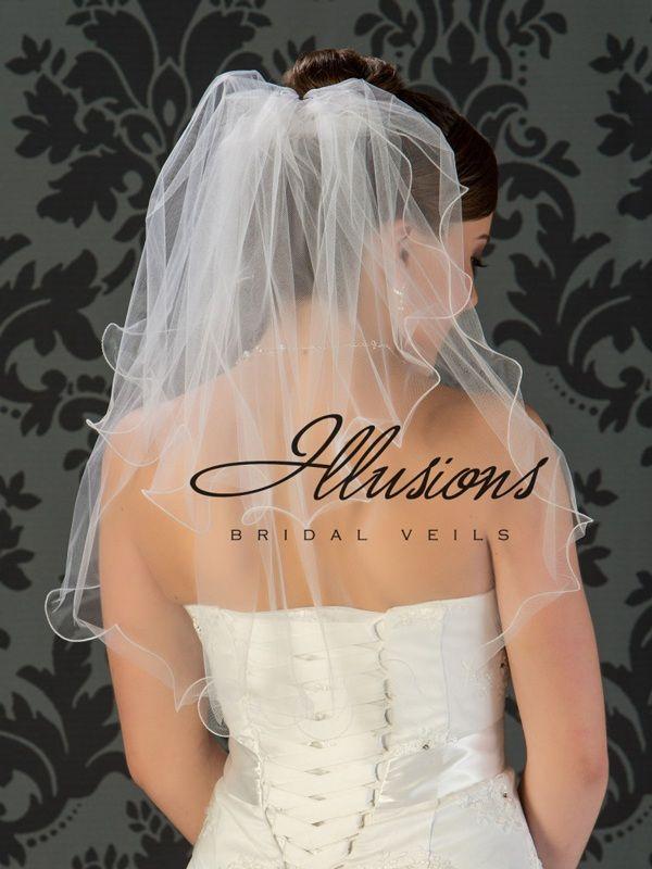 Illusions Bridal Filament Edge Veil S5-252-F: Pearl Accent