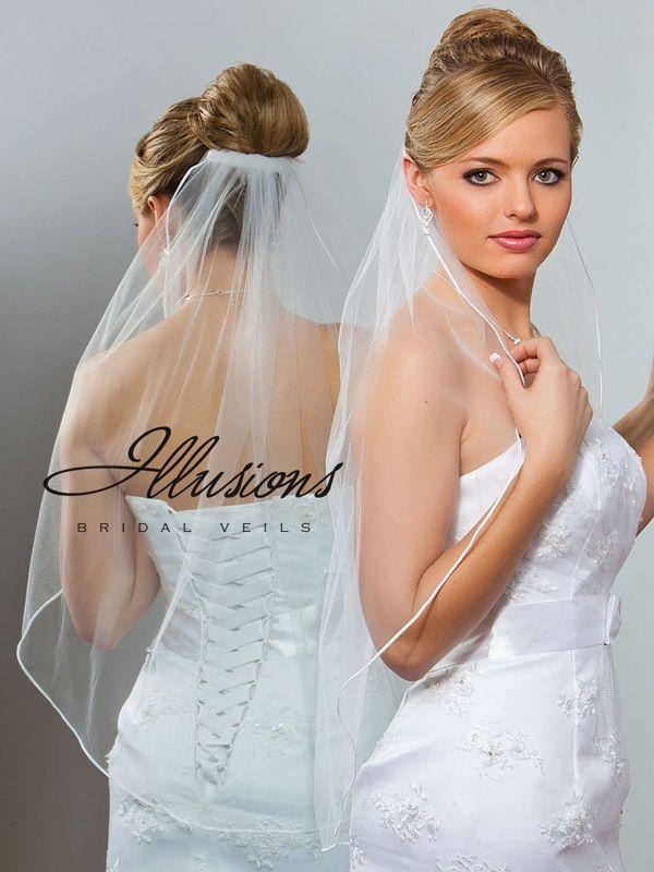 Illusions Bridal Soutache Edge Veil 5-301-ST: Pearl Accent