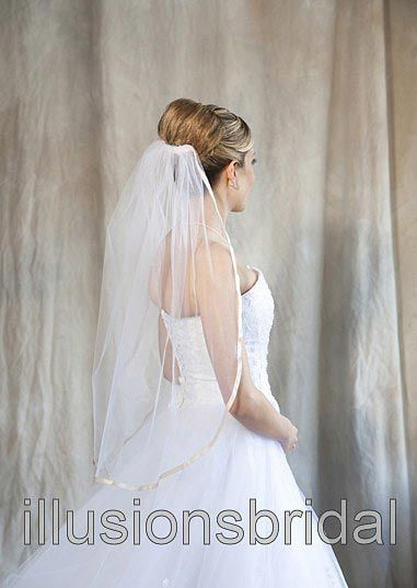 Illusions Bridal Colored Veils and Edges with Rum Pink Ribbon Edge