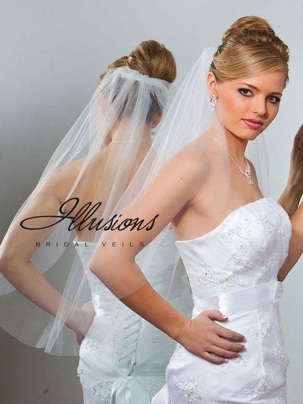 Illusions Bridal Cut Edge Veil 5-301-CT: Pearl Accent