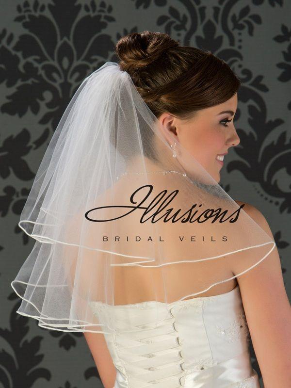 Illusions Bridal Soutache Edge Veil C7-202-ST: Pearl Accent