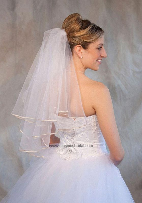 Illusions Bridal Colored Veils and Edges: Oyster Ribbon Edge