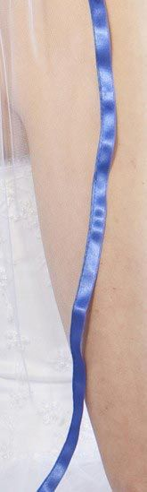 Illusions Bridal Colored Veils and Edges with Royal Blue Ribbon Edge
