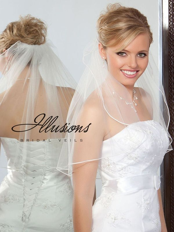 Illusions Bridal Soutache Edge Veil 1-201-ST: Pearl Accent
