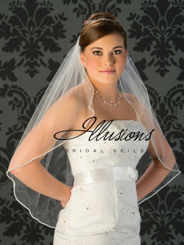 Illusions Bridal Rhinestone Edge Wedding Veil 7-301-RS: White Waist Length