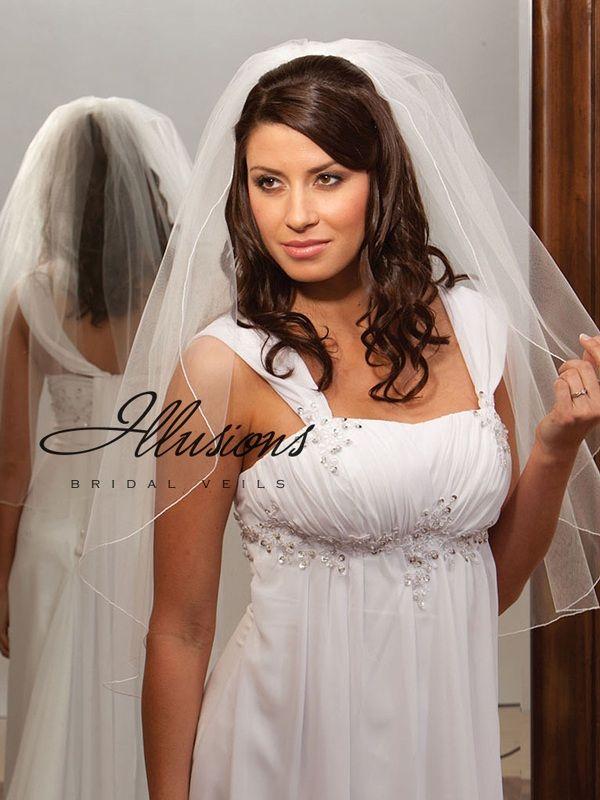 Illusions Bridal Corded Edge Veil 1-301-C: Pearl Accent