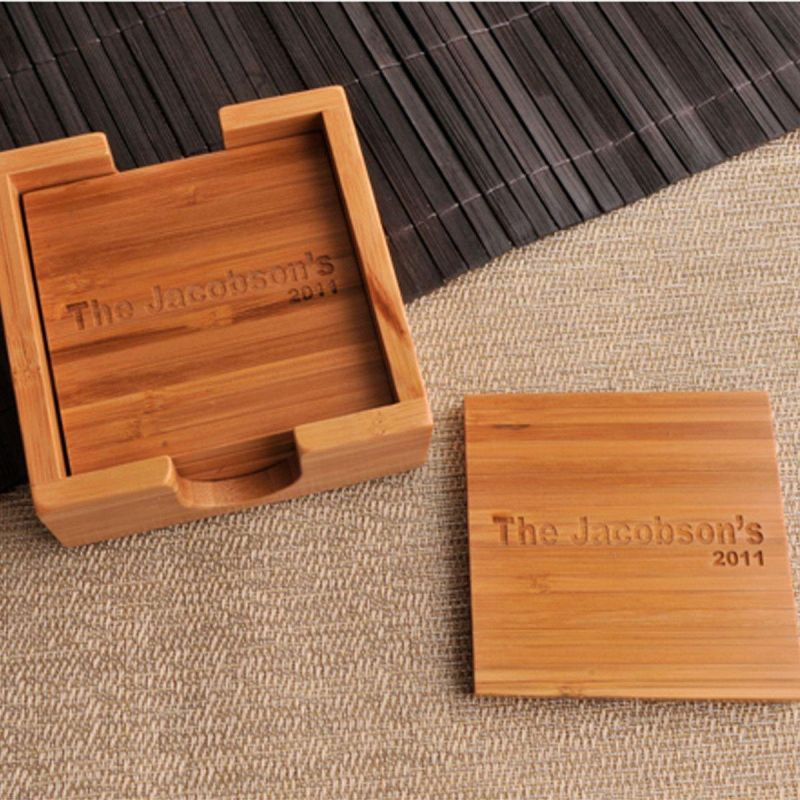Custom Bamboo Coasters - Set Of 4 With Coaster Box