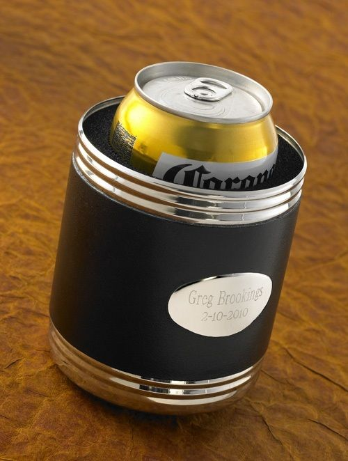 Black Leather Can Cooler