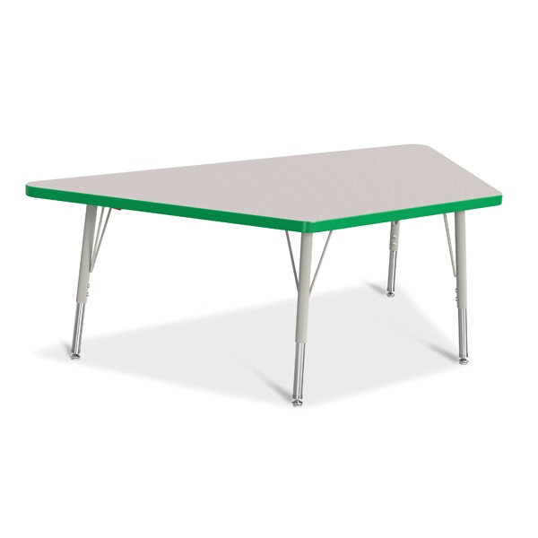 """Berries® Trapezoid Activity Tables - 30"""" X 60"""", E-Height - Gray/Green/Gray"""