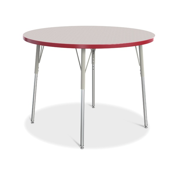 """Berries®Round Activity Table - 42"""" Diameter, A-Height - Gray/Red/Gray"""