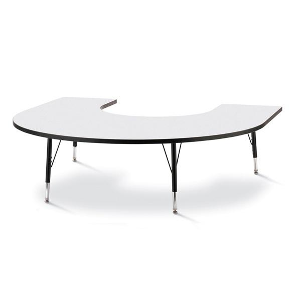 "Berries®Horseshoe Activity Table - 66"" X 60"", T-Height - Gray/Black/Black"
