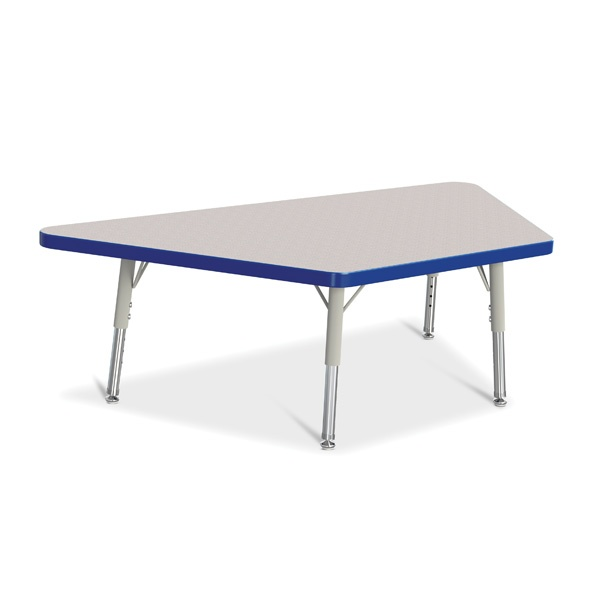 """Berries®Trapezoid Activity Tables - 24"""" X 48"""", T-Height - Gray/Blue/Gray"""
