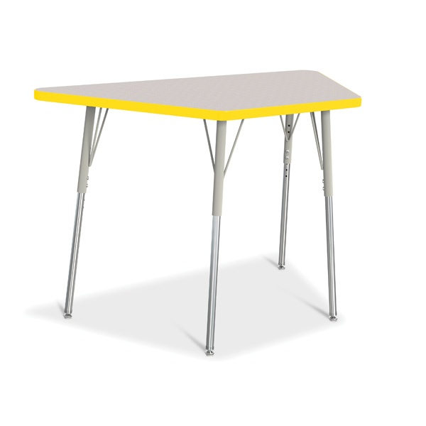"""Berries®Trapezoid Activity Tables - 24"""" X 48"""", A-Height - Gray/Yellow/Gray"""