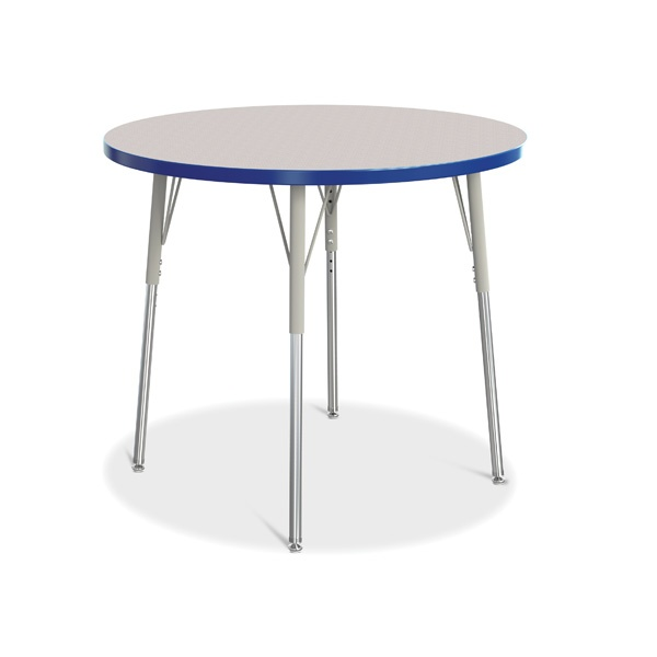 """Berries® Round Activity Table - 36"""" Diameter, A-Height - Gray/Blue/Gray"""