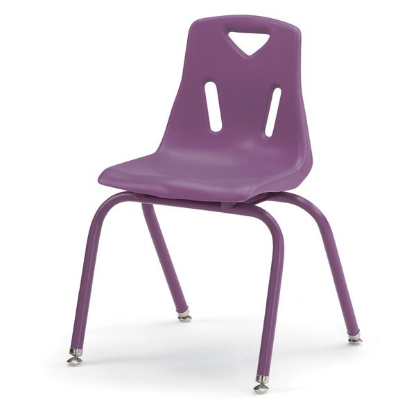 """Berries®Stacking Chairs With Powder-Coated Legs - 16"""" Ht - Set Of 6 - Purple"""