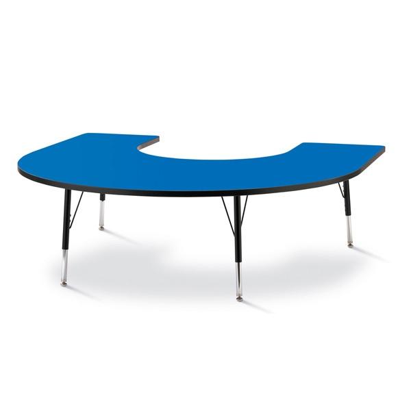 "Berries®Horseshoe Activity Table - 66"" X 60"", E-Height - Blue/Black/Black"