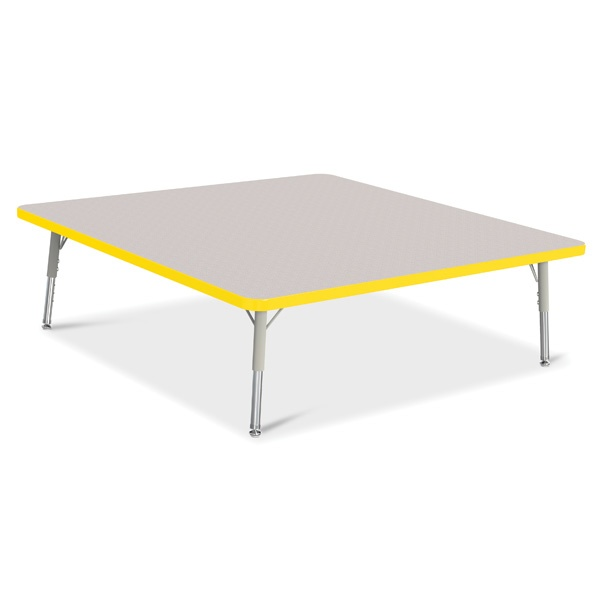 """Berries®Square Activity Table - 48"""" X 48"""", T-Height - Gray/Yellow/Gray"""