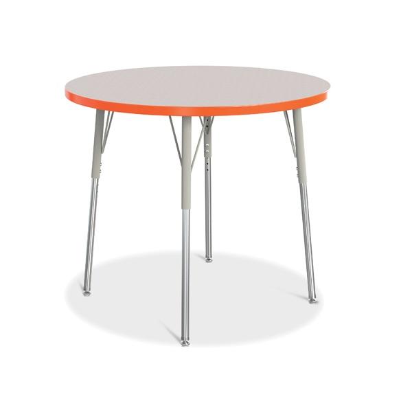 "Berries® Round Activity Table - 36"" Diameter, A-Height - Gray/Orange/Gray"