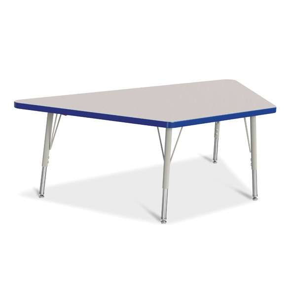 """Berries® Trapezoid Activity Tables - 30"""" X 60"""", E-Height - Gray/Blue/Gray"""