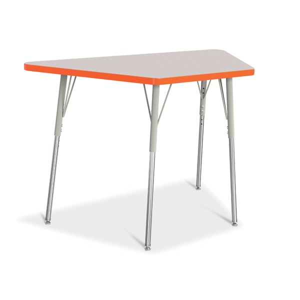 """Berries®Trapezoid Activity Tables - 24"""" X 48"""", A-Height - Gray/Orange/Gray"""