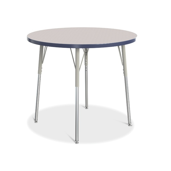"""Berries®Round Activity Table - 36"""" Diameter, A-Height - Gray/Navy/Gray"""