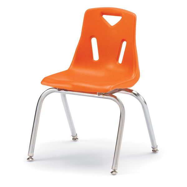 """Berries® Stacking Chairs With Chrome-Plated Legs - 16"""" Ht - Set Of 6 - Orange"""