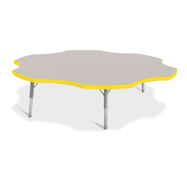 """Berries®Six Leaf Activity Table - 60"""", T-Height - Gray/Yellow/Gray"""