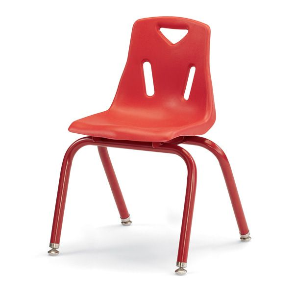 """Berries®Stacking Chairs With Powder-Coated Legs - 14"""" Ht - Set Of 6 - Red"""
