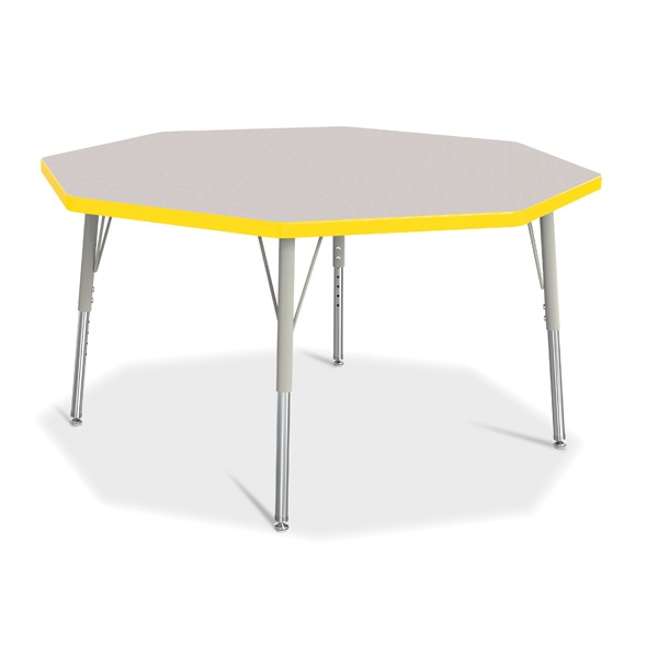"""Berries®Octagon Activity Table - 48"""" X 48"""", E-Height - Gray/Yellow/Gray"""