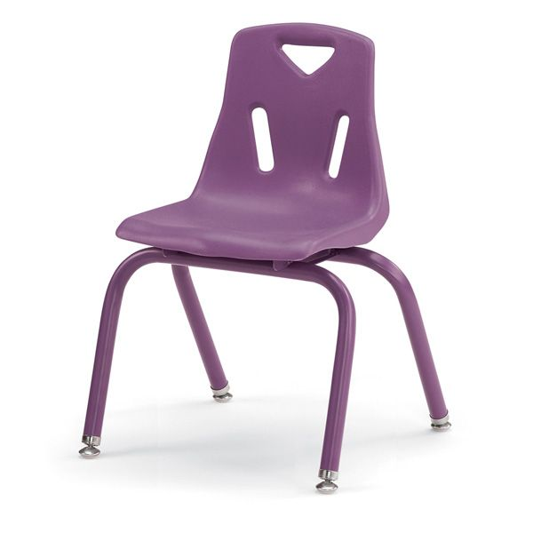 """Berries®Stacking Chairs With Powder-Coated Legs - 14"""" Ht - Set Of 6 - Purple"""