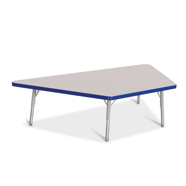 """Berries®Trapezoid Activity Tables - 30"""" X 60"""", T-Height - Gray/Blue/Gray"""