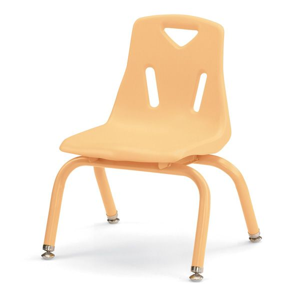 """Berries®Stacking Chairs With Powder-Coated Legs - 10"""" Ht - Set Of 6 - Camel"""