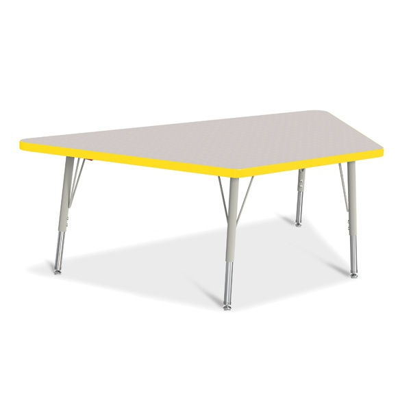 """Berries®Trapezoid Activity Tables - 30"""" X 60"""", E-Height - Gray/Yellow/Gray"""