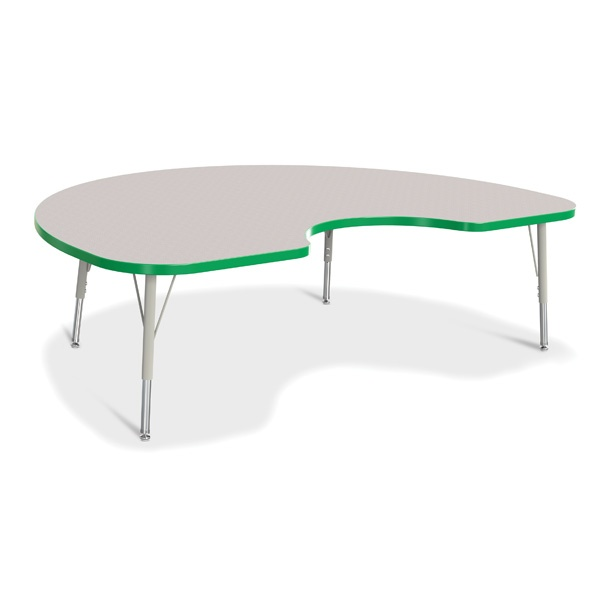 """Berries®Kidney Activity Table - 48"""" X 72"""", E-Height - Gray/Green/Gray"""
