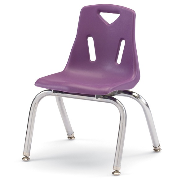 """Berries® Stacking Chairs With Chrome-Plated Legs - 12"""" Ht - Set Of 6 - Purple"""
