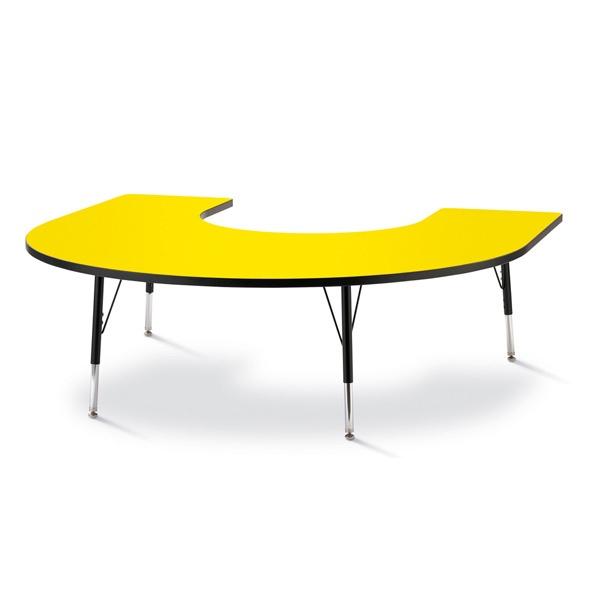 "Berries®Horseshoe Activity Table - 66"" X 60"", E-Height - Yellow/Black/Black"