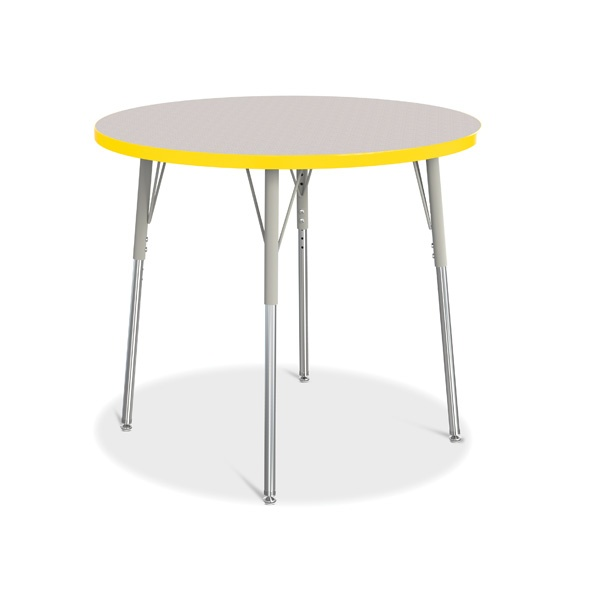 """Berries® Round Activity Table - 36"""" Diameter, A-Height - Gray/Yellow/Gray"""