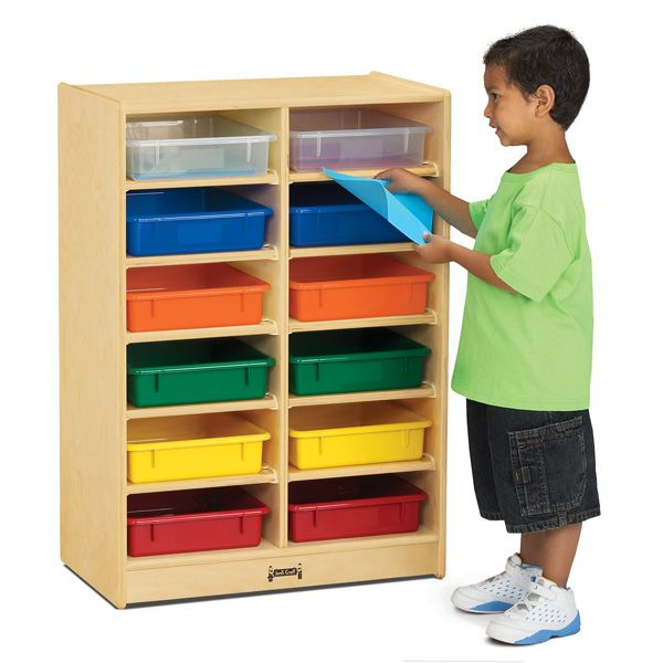 Jonti-Craft®12 Paper-Tray Mobile Storage - With Colored Paper-Trays
