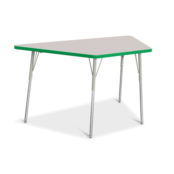 """Berries®Trapezoid Activity Tables - 30"""" X 60"""", A-Height - Gray/Green/Gray"""