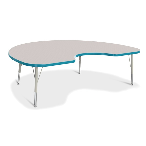 """Berries®Kidney Activity Table - 48"""" X 72"""", E-Height - Gray/Teal/Gray"""